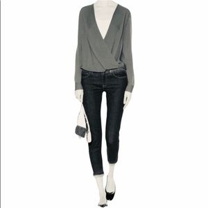 DVF Original Authentic Crisscross Silk Blouse Gray